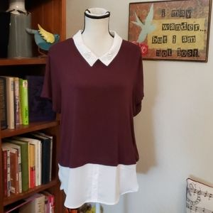 ELLE MAROON AND WHITE BLOUSE XL
